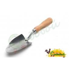 """Совок с деревянной ручкой """"РЕПКА"""" широкий (нержавеющая сталь)"""