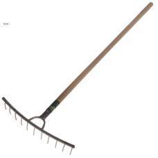 Грабли титановые для сена 10-зубые; черенок лак/осиновый, 130см, ф33мм