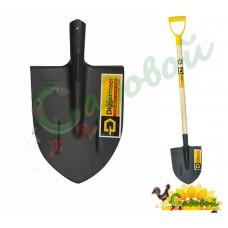 Лопата копальная остроконечная с деревянным черенком и ручкой